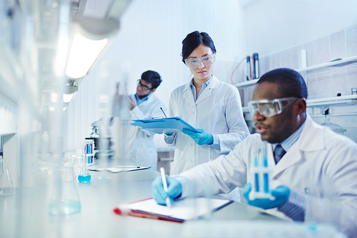 Bench Researchers in a Pharmaceutical setting
