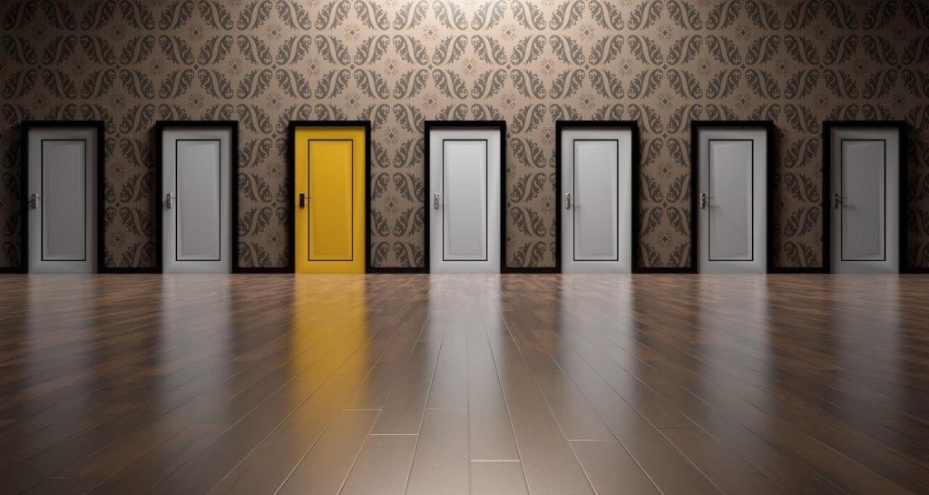6 white doors and 1 yellow