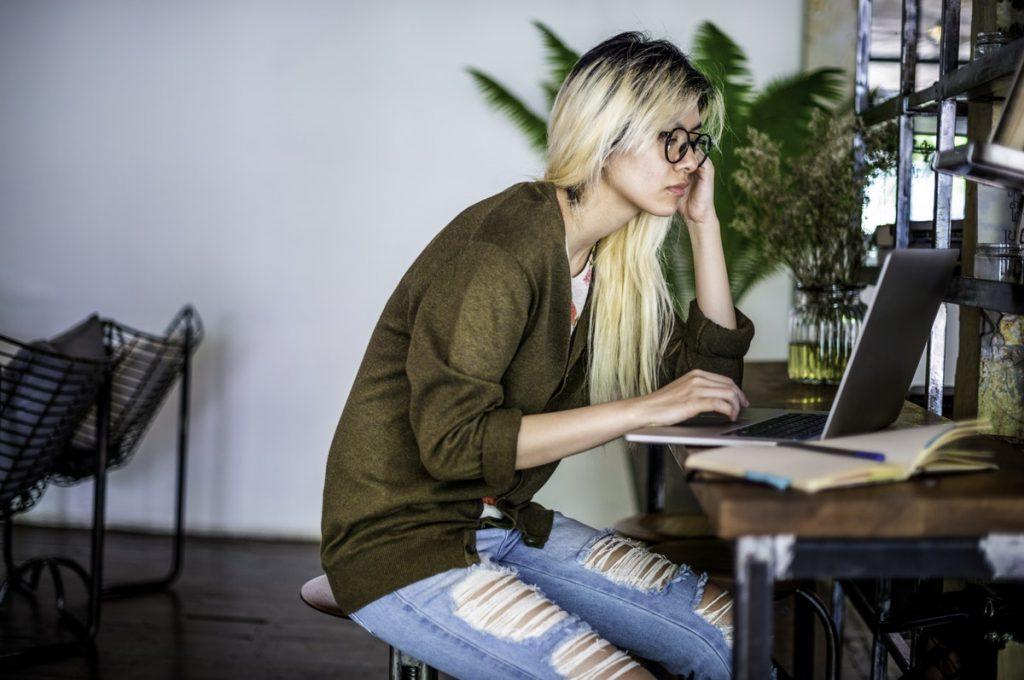 woman doing computer work