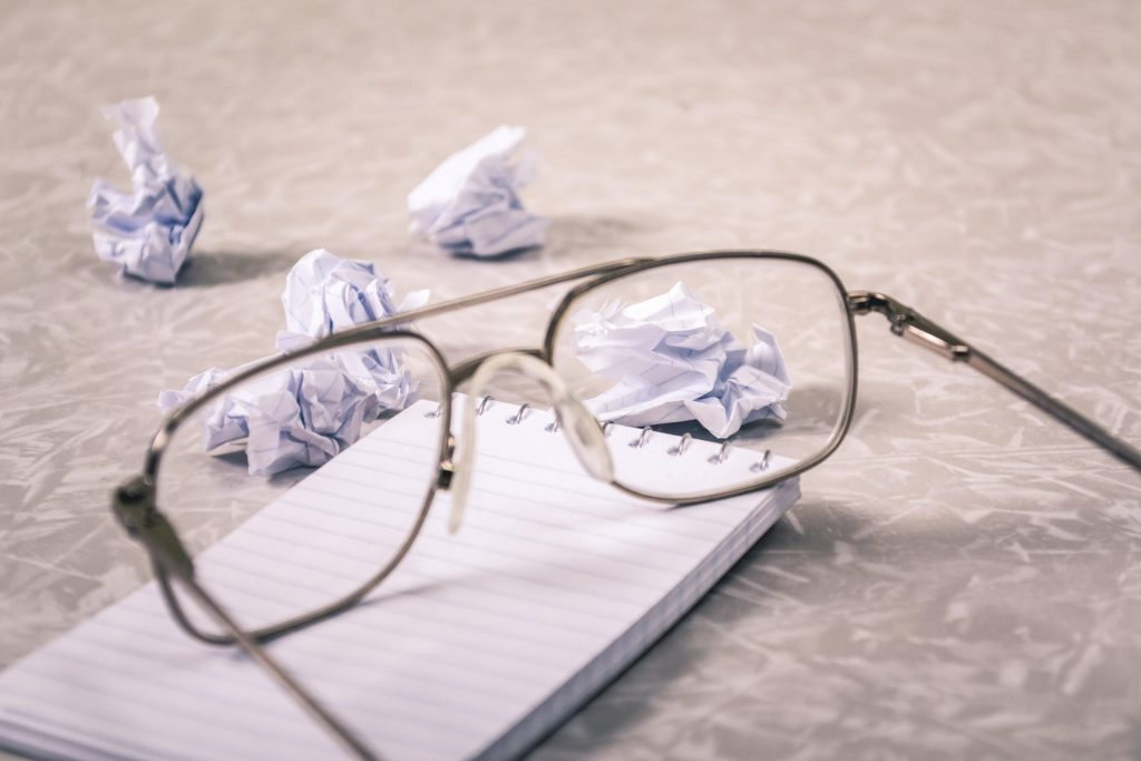 glasses with crumpled paper