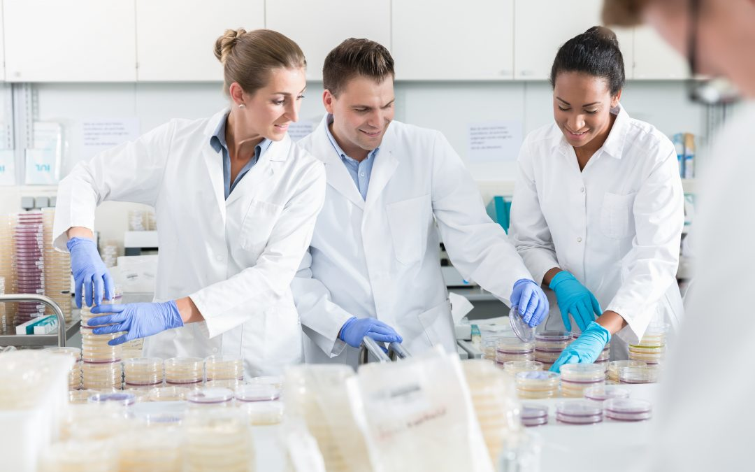 3 scientists working in lab