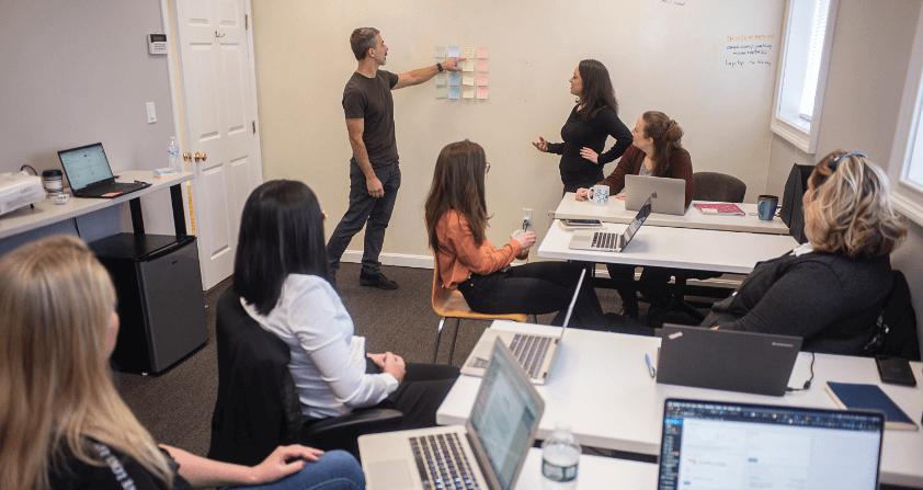 coworkers in meeting